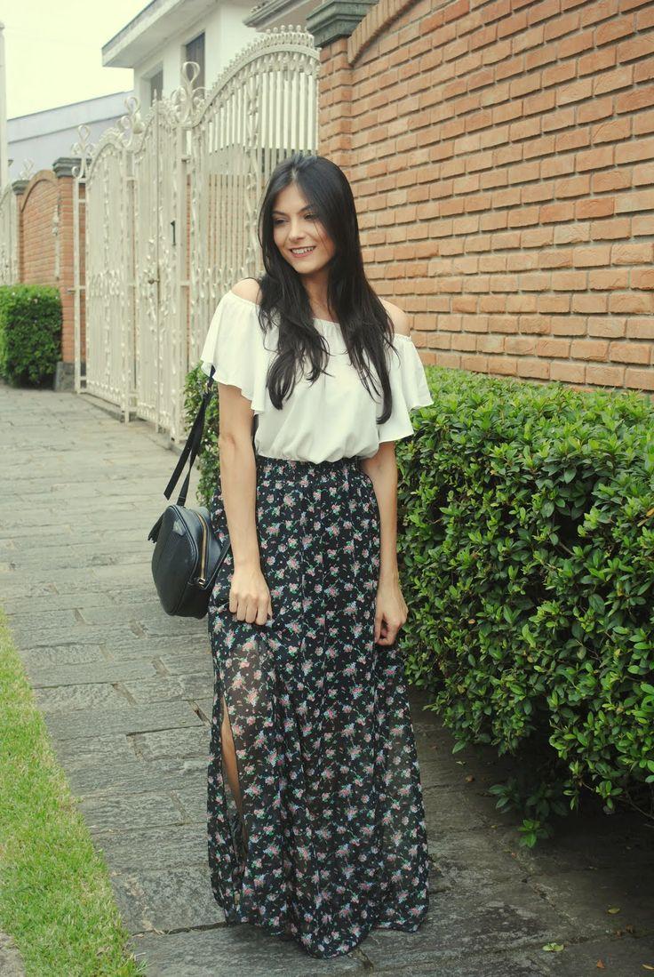 Look saia longa floral