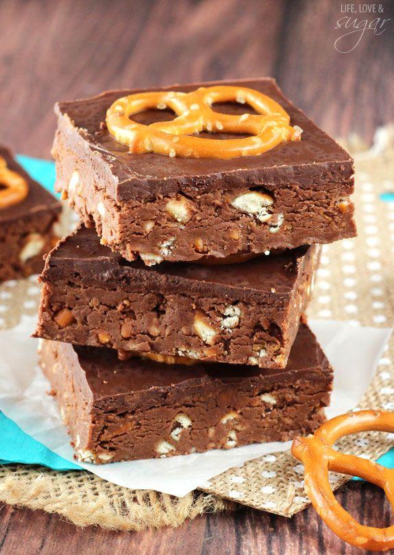 Nutella Pretzel No Bake Bars from @lifelovesugar