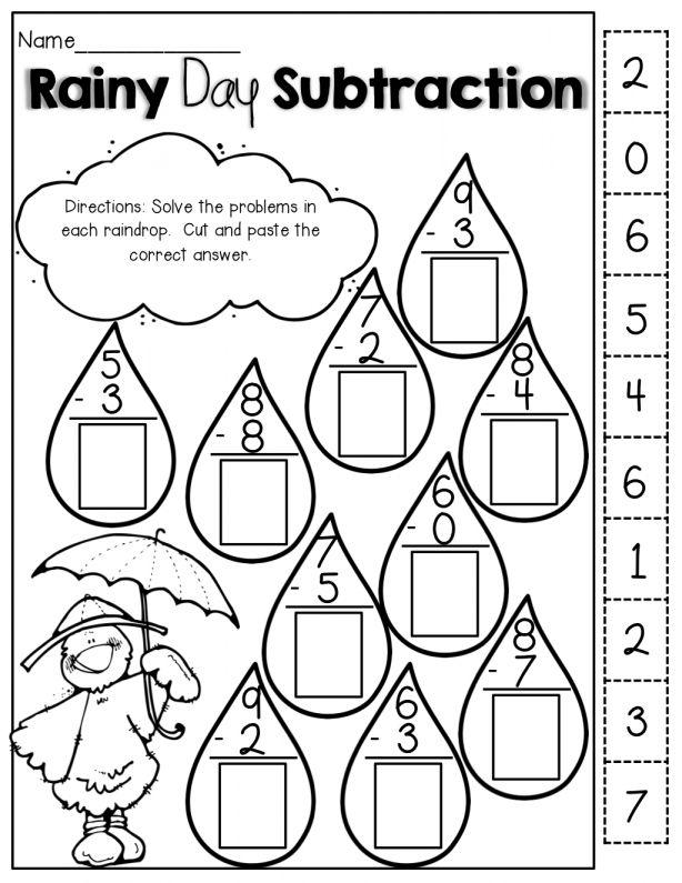 10+ Rainy Day Worksheet Preschool Spring Math, 1st Grade Math,  Kindergarten Math Worksheets