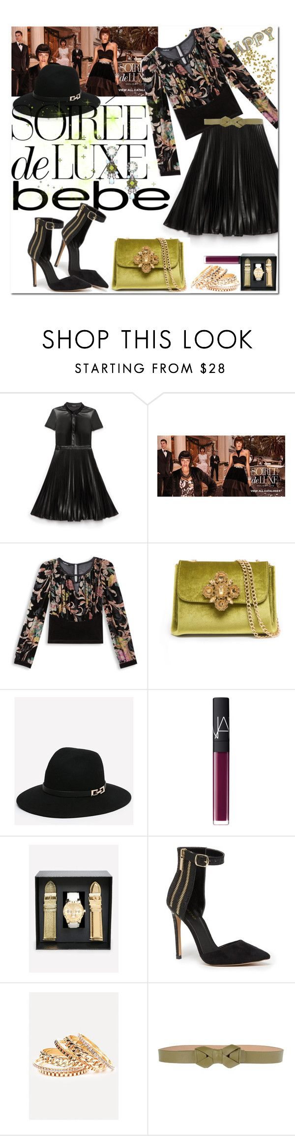 """Soirée de Luxe with bebe Holiday: Contest Entry"" by iraavalon ❤ liked on Polyvore featuring moda, Bebe, NARS Cosmetics i RED Valentino"