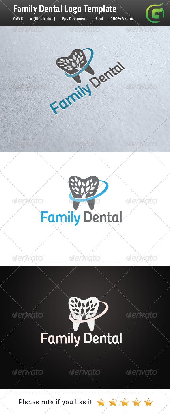 Family Dental  #GraphicRiver        Logo Description:  The logo is Easy to edit to your own company name.The logo is designed in vector for highly resizable and printing. The Logo Pack includes.   100% vector (re-sizable).  Color mode: CMYK.  AI file (for Illustrator CS or higher).  EPS file (for Illustrator / Corel Draw / Freehand).  Help document with download link of the font used.