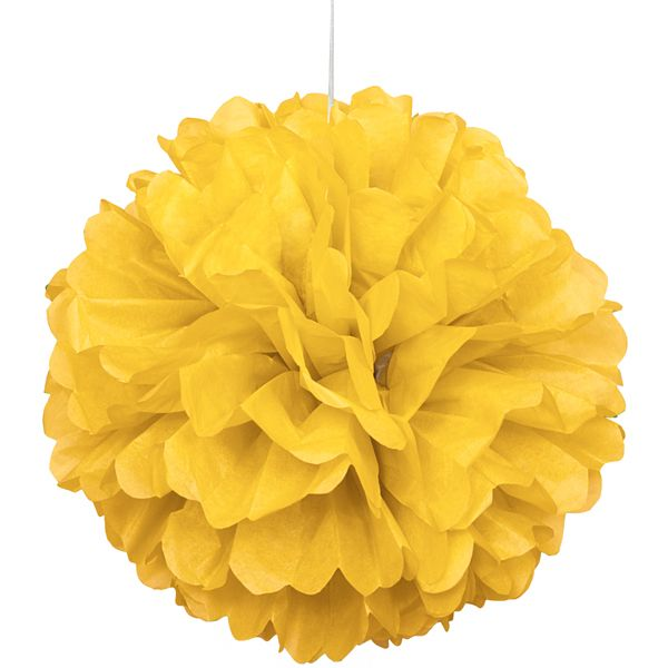 Party Souq - Yellow Puff Ball Tissue Decoration|1 pc, $ 8.37