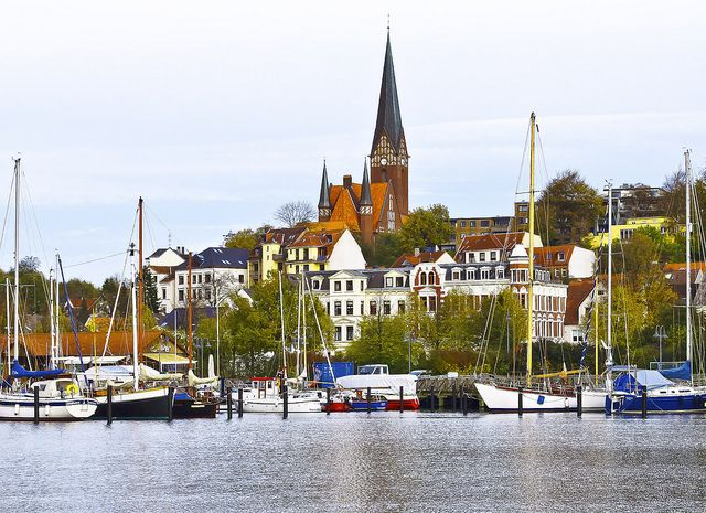 Port town of inlet - Flensburg, Germany