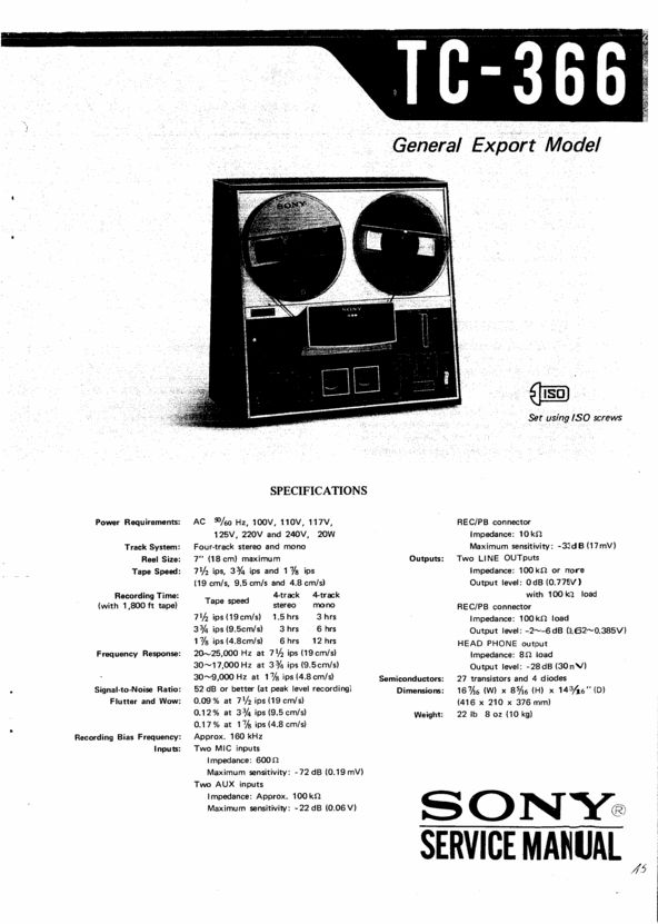 Sony TC-366 reel to reel tape recorder Service Manual 100 per cent satisfaction guaranteed  100 DOWNLOAD