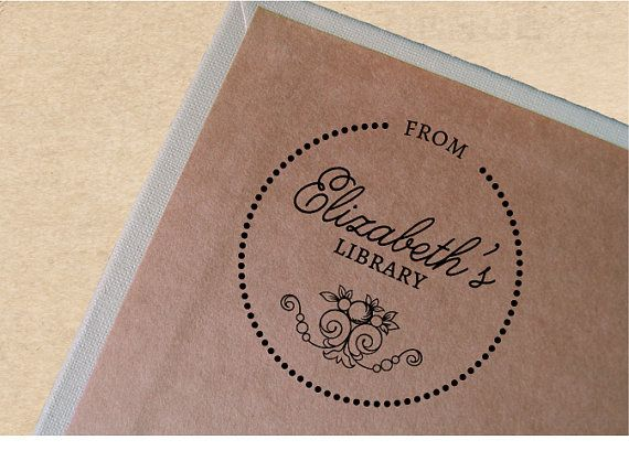 Custom Book Stamp Vintage Bookplate by TailorMadeStamps on Etsy, $27.00--Second Favorite