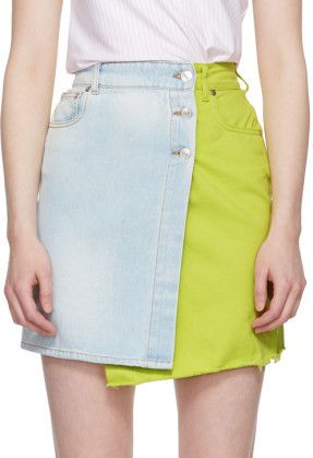 5b5ab41fe1d9 MSGM - Blue & yellow colorblock flap denim miniskirt | SKIRTS in ...