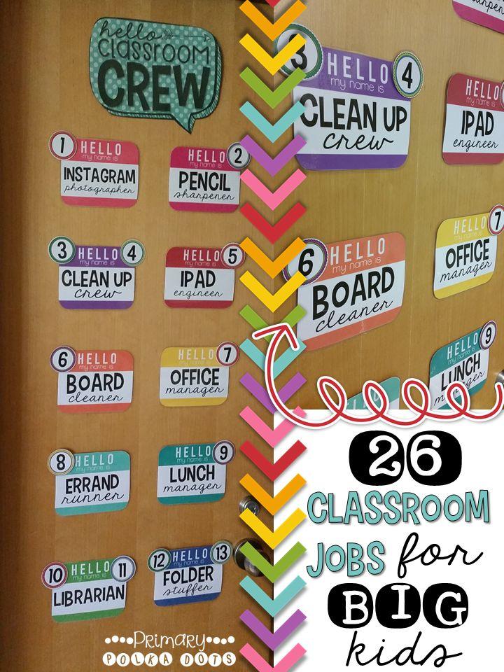 Classroom Jobs - 4th, 5th, 6th & 7th Grades