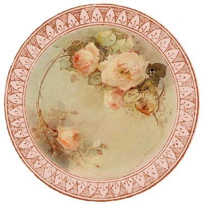 """Such fine china"" ~ free round graphic, pretty roses"