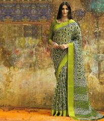 Green Color Manipuri Cotton Silk Casual Party Sarees With Satin Border : Zaira Collection YF-64765