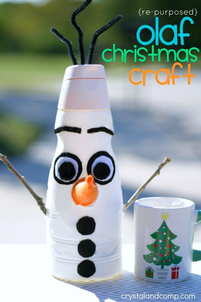 olaf from frozen christmas craft something to do with all those coffee creamer bottles!