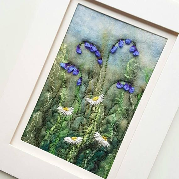 Felted wool art by Tilly Tea Dance. Free machine and hand embroidery https://www.etsy.com/uk/listing/399624287/bluebells-daisies-needle-felted-and