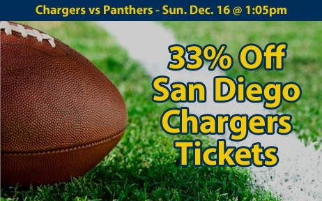 33% off San Diego Chargers Tickets vs Carolina Panthers Sun. Dec. 16 @ 1:05pm