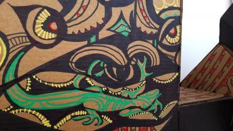 Reweti Arapere, Te Aitanga-a-tiki (detail), 2013, cardboard, permanent marker, paint marker 1000 x 1000 x 500mm; photo by Rob Garrett