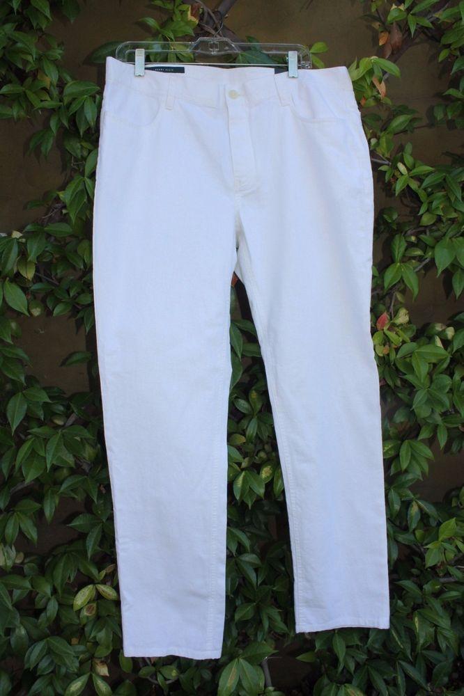 Perry Ellis Men's White Pants 34 x 32 NWT Linen Blend Slim Fit  #PerryEllis #CasualPants