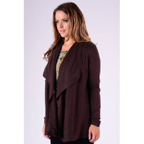 Modern Smart Lady Long Sleeve Open Front Cardigan Brown 50% Cotton, 25% Wool