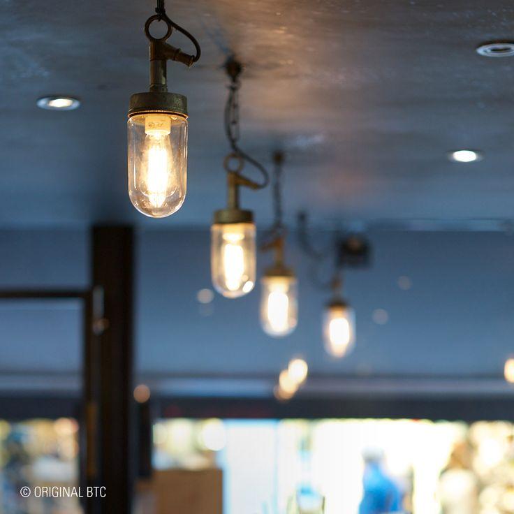 Great designs can be simple. Davey's Well Glass Pendant spotted at Pix Bar in London. #lighting #DaveyLighting #OriginalBTC #restaurantinteriors