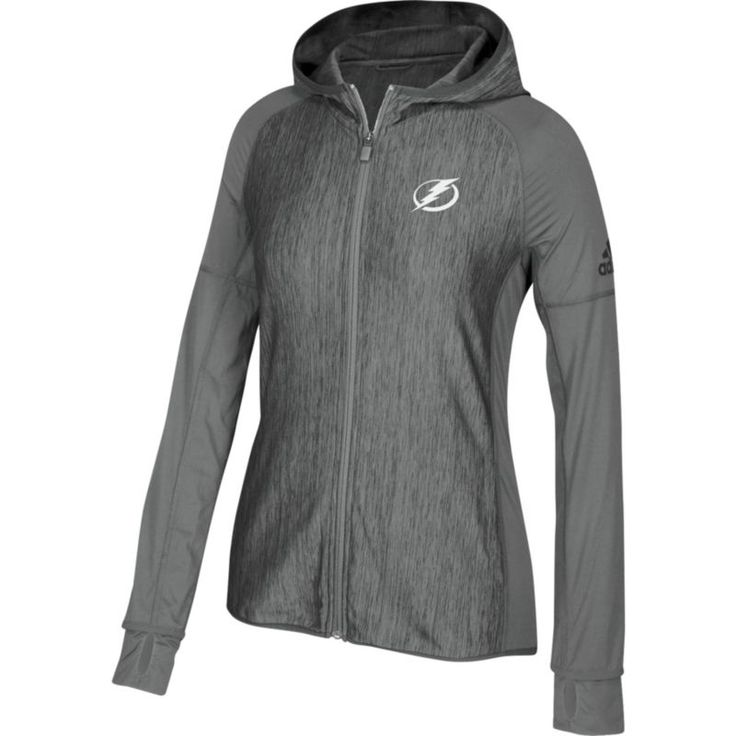 adidas Women's Tampa Bay Lightning Logo Grey Full-Zip Hoodie, Size: Medium, Team