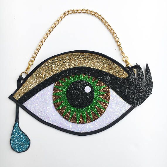 Hazel Glitter Eye Clutch Handbag