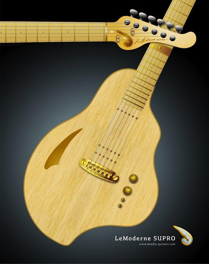 "Deadly Guitars ""LeModerne SUPRO 2014"". Hybrid magnetic & piezo semi acoustic guitar -  © bil andersen 2013"