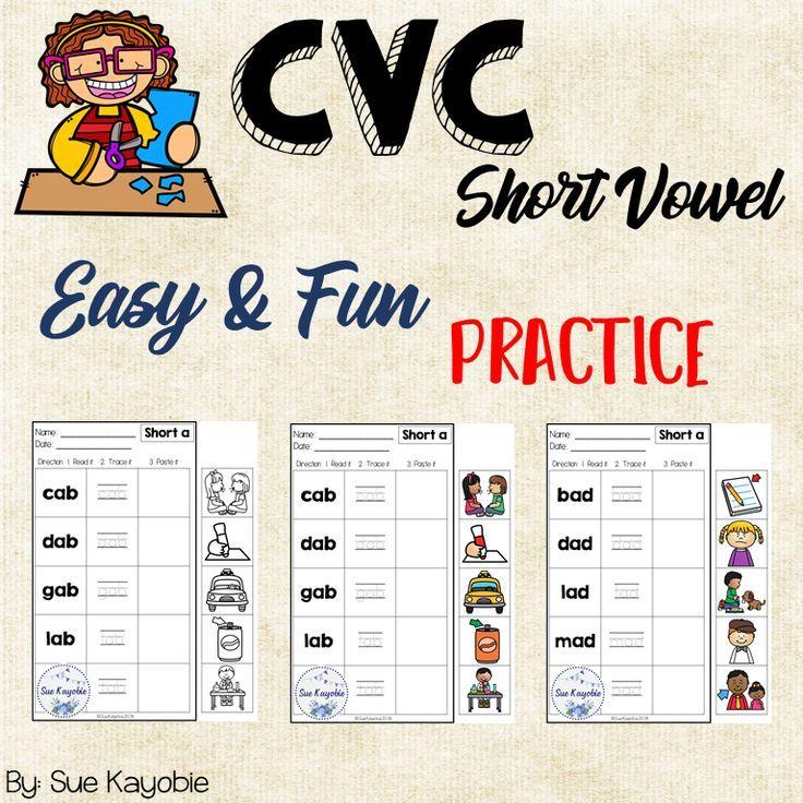 CVC Short Vowel Easy & Fun Practice | Pinterest