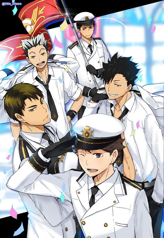 captains, imperial japanese navy white (summer) uniform, daichi, bokuto, kuroo, ushijima, oikawa, 影山飛雄マジ天使, http://au-to.tumblr.com/post/139353488469/long-time-no-post-hi-everyone-some, http://www.pixiv.net/member_illust.php?mode=manga&illust_id=55463715