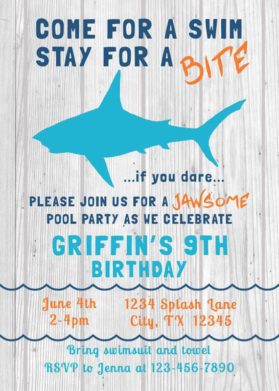Shark Birthday Invitation Swim Pool Party by DrummingMumDesigns