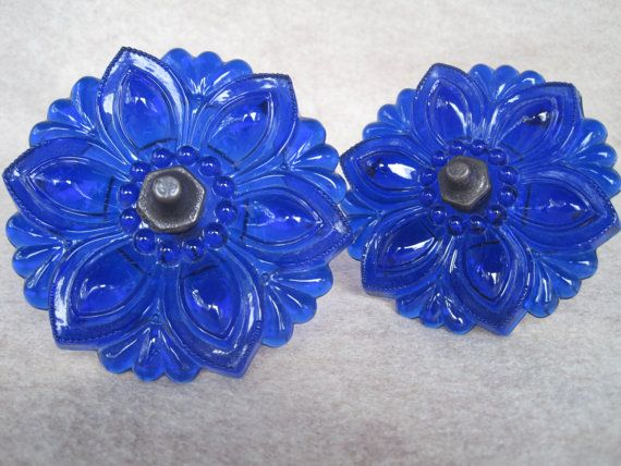 SALE - Curtain Tieback Set of Two / Solid glass Cobalt Blue Curtain Tiebacks / Curtain Holdbacks / Curtain Accessories
