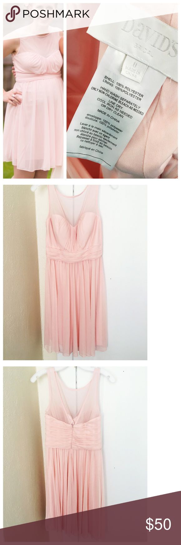 David's Bridal Pink Blush Chiffon 👗 Worn once for a wedding as a bridesmaid. Petal pink color, chiffon bridesmaid dress. Excellent condition. I as pregnant at the time and gave room for my bump, would flow flat otherwise. Not my color otherwise I'd keep it as a go to formal dress. David's Bridal Dresses Wedding