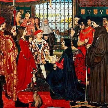 Painting depicting the visit of Erasmus and Thomas More to the royal Tudor nursery in the summer of 1499. From Left to Right: Margaret, queen consort of Scotland, aged 10, Edmund Tudor, Duke of Somerset in the arms of a nanny, Mary, Queen of France aged 3, Henry VIII, King of England then Duke of York aged 8. Absent Royal child was Arthur, Prince of Wales who was at Ludlow Castle at the time of the visit.