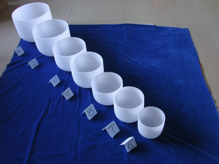 Introduction of Seven Chakra Quartz Crystal Singing Bowls The bowls are composed of Silica Quartz. The silica is in the form of sand. The sand is fired to 4000 degrees centigrade where it melts.   Each Quartz Crystal Singing Bowl is crafted to be sturdy and durable. They vary in size from 6 inches on up to 24 inches. Generally, the larger the bowl, the longer the sound will reverberate and the lower the pitch will be.  quartz_sara@hotmail.com whatsapp:+8613841692903