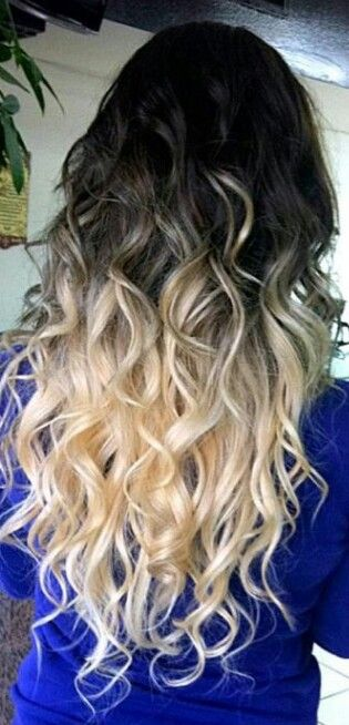 The curls make the black/blonde ombré work so well together! I think it would look odd if the hair was styled straight.