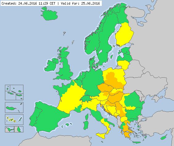 Valid for 25.06.2016 Meteoalarm - severe weather warnings for Europe - Mainpage