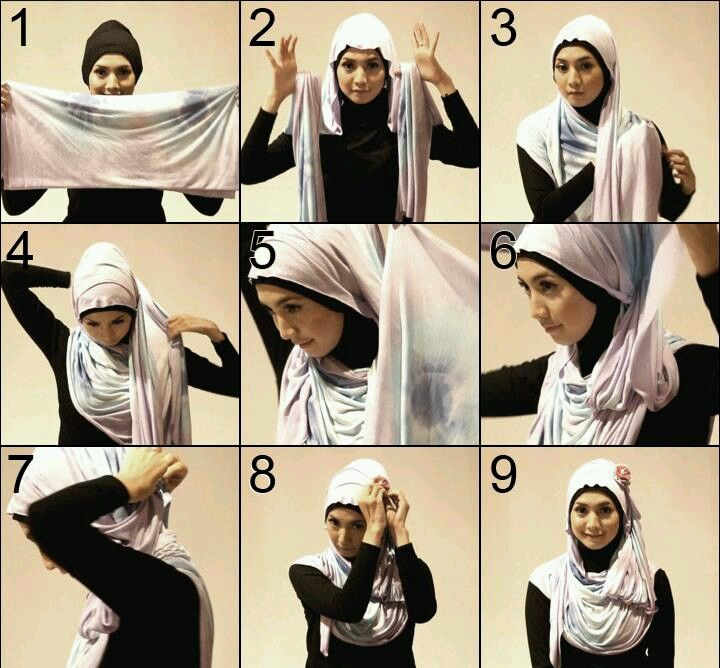 Tutorial for tiered style hijab courtesy from My Baju Muslim....