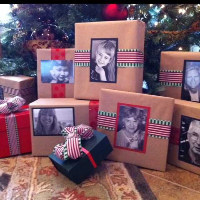 Christmas gifts wrapping idea  for each gift.... put a picture of that person on the cover !!! LOVE IT !!!