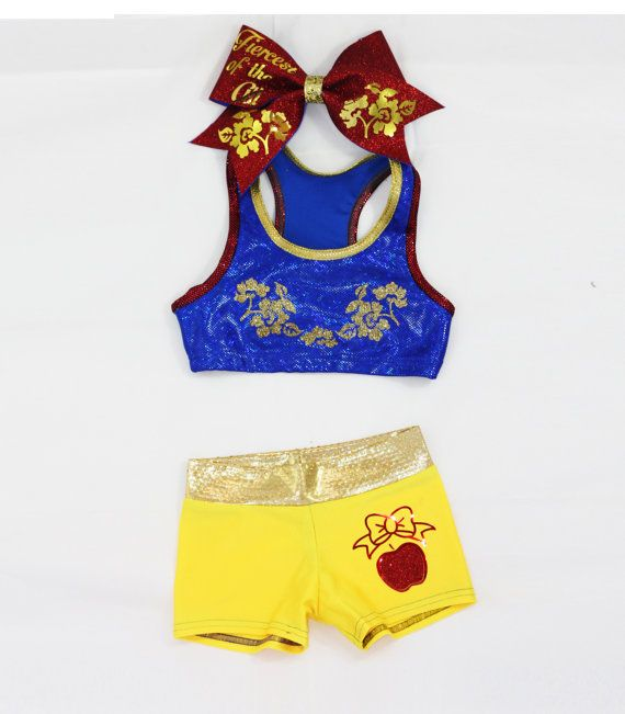 Snow White Inspired Workout Set Includes Sports Bra, Shorts and Bow on Etsy, $55.00