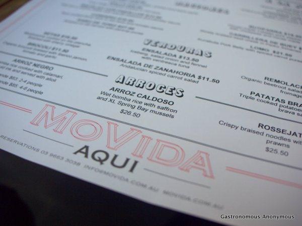 Menu @ Movida Aqui