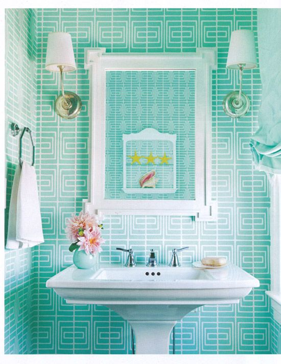 This light blue with white stripes gives the bathroom a very unique look!