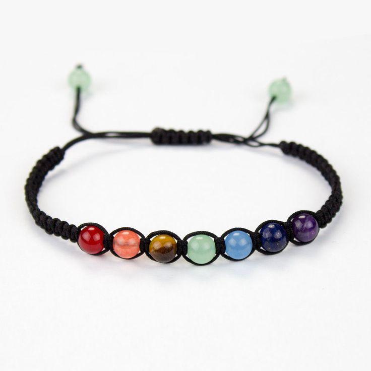Chakren Armband mit 7 Chakrensteinen je 6 mm größenverstellbar Shamballa 9 Beads in Uhren & Schmuck, Modeschmuck, Armbänder   eBay