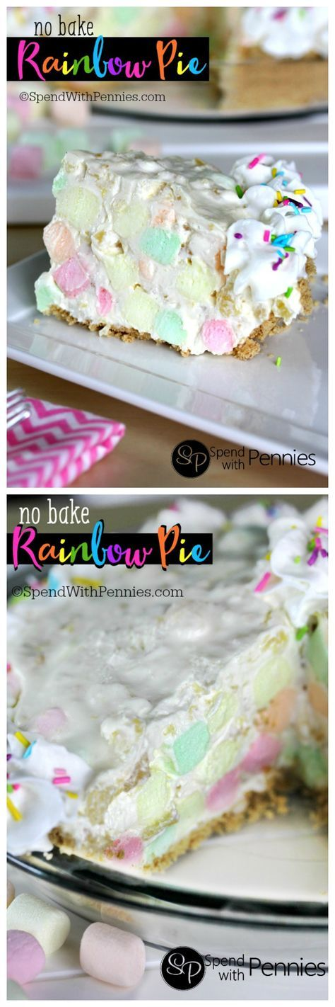 Rainbow Pie is one of the prettiest desserts! This easy no bake pie takes just 5 minutes & 6 ingredients to prepare. Light, fluffy and delicious, this is a family favorite!
