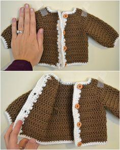 Feather's Flights {a creative, sewing blog}: Crocheted Newborn Cardigan and Softening Yarn