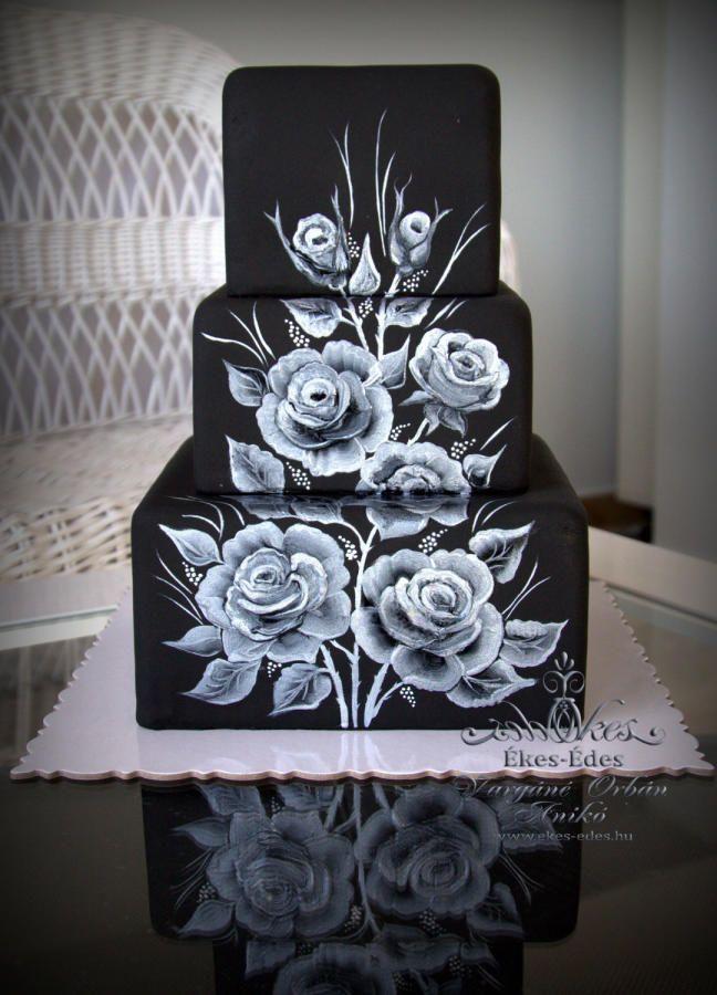 Silver Roses on Black by Aniko Vargane Orban