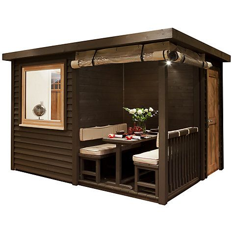 Buy Crown Pavilions Eton 4-Seater Summerhouse, 2.8 x 3.3m Online, the price is eyewatering and looks a litte cramped but the design could be developed further...