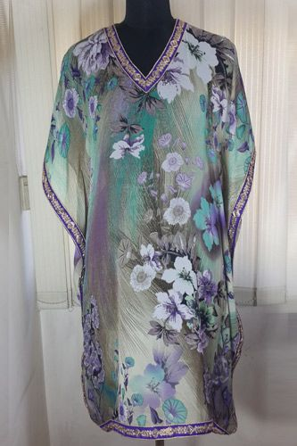 Enhance your beauty with designer Printed Grey Floral Kaftan.