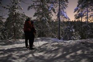 Moonlight #Snowshoe Hiking in #Nuuksio, #Espoo