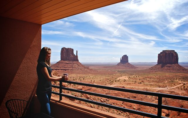 The View Hotel- Spring is bringing life to Monument Valley. The View Hotel is the only hotel built at the edge of the valley and a place you can wake while watching the sun rise over the Mittens.   PO Box 360457, Monument Valley, UT 84536; 1-435-727-5555