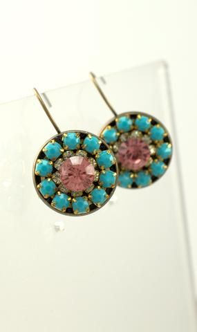 Turquoise and Pink Bronze Earrings