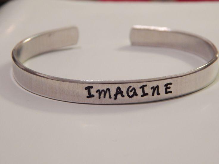 Imagine Cuff Bracelet John Lennon Inspired par FamilyHouseStampin sur Etsy https://www.etsy.com/fr/listing/125760252/imagine-cuff-bracelet-john-lennon