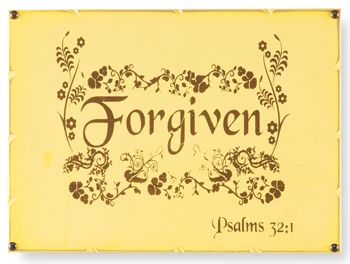 Forgiven Plaque - love the rustic color of pale yellow ~kc