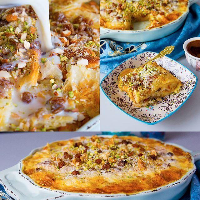 Um Ali- Egyptisk brödpudding som smakar fantastiskt gott. SÅ HIMLA GOD och krämig dessert Um Ali serveras gärna nygräddad och varm. Recept med steg för steg bilder hittar du på bloggens startsida ❤