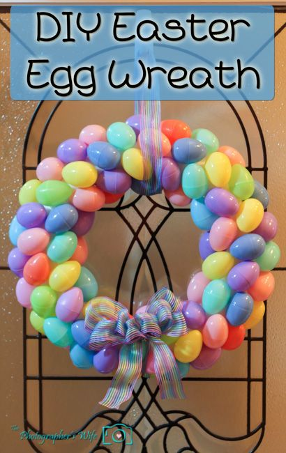 12 Adorable Spring Easter Wreaths-Hot glue plastic eggs to a styrofoam base.